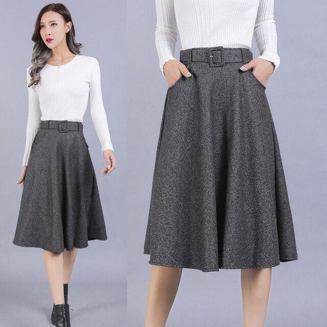 285c1f8ec TingYiLi High Waist Midi Skirt Vintage A Line Skirt Black Gray Big Swing  Autumn Winter Women Skirt