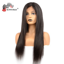 hot deal buy sunnymay peruvian virgin hair full lace human hair wigs silk straight pre plucked lace wig with baby hair for black woman