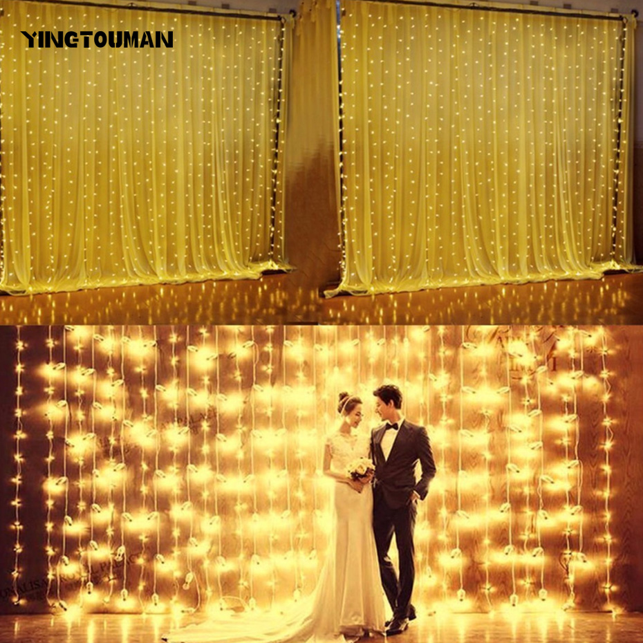 YINGTOUMAN US Plug 110V 3*3m 448LED Curtain Lights 2018 New Year String Light LED Curtian Lamp For Wedding Party Christmas