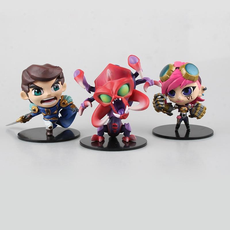 Free Shipping Cute 3pcs Anime Game Chogath Garen Vi 3pcs set Boxed 10cm PVC Action Figur ...