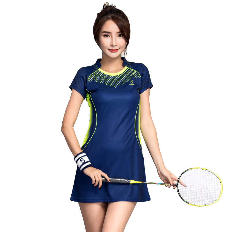New Badminton Dress Summer Woman Ventilated Badminton Dress Women's Sports Tennis Dress with Safety Short Pants 2018 summer new badminton dress women speed dry badminton suit sports suit women s dress