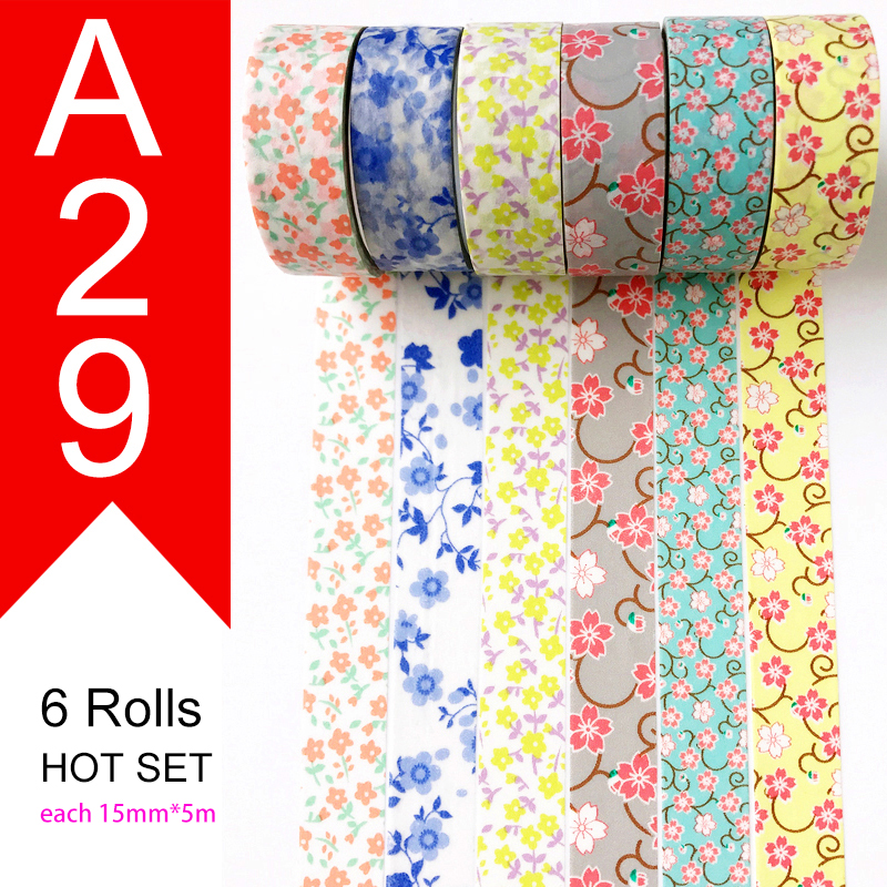 Free Shipping and Coupon washi tape Washi tape watercolor Optional collocation on sale 26 style sets HOT selling Set A01 A29 in Office Adhesive Tape from Office School Supplies