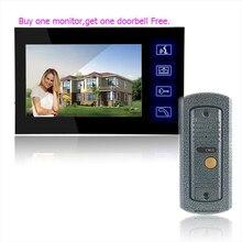 Comprar Que el Monitor envío 7 Pulgadas a Color LCD de Video Teléfono de La Puerta Timbre Desbloquear Sistema de Liberación de La Puerta de Intercomunicación Timbre de La Cámara