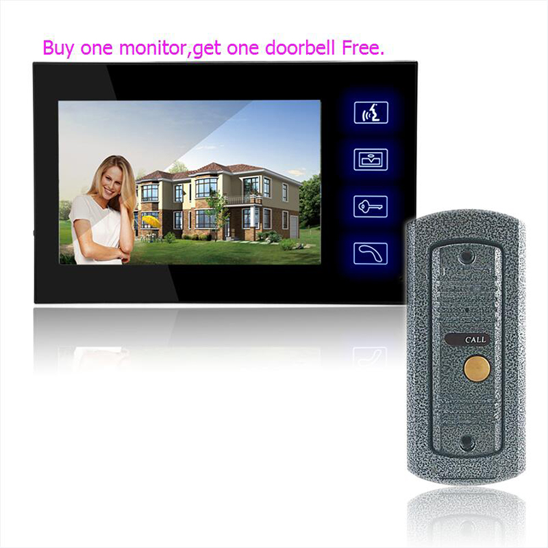 Home Security 7 Inch TFT Touch Screen LCD Color Video Door Phone Doorbell Intercom system Night Vision Eye Camera Doorphone