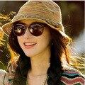 Kesebi 2017 New Hot Fashion Spring Summer Female Beach Sun Protect Casual Hat Women Rainbow Pattern Knitting Sun Hats