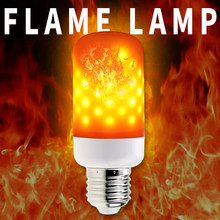 E27 Flame Lamp Led Bulb 220V E26 AC85-265V 63leds E14 2835 Flickering Emulation Decorative lights Atmosphere lamp 110V Two Modes(China)