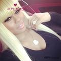 Glueless блондинка фронта шнурка человеческих волос парик 130% плотность китайский взрыва парики длинные шелковистая прямая перуанский парик с отбеленные узлы