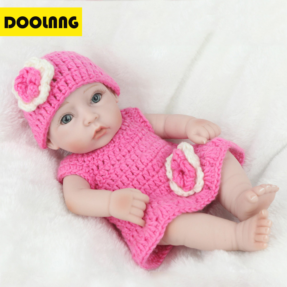 DOOLNNG Soft Body Silicone Reborn Baby/Doll Toy Lifelike Newborn Baby Girl Toys For Kids Appease Accompany Sleep DL-W03 cool punk style leather zinc alloy necklace military boots style pendant brown silver