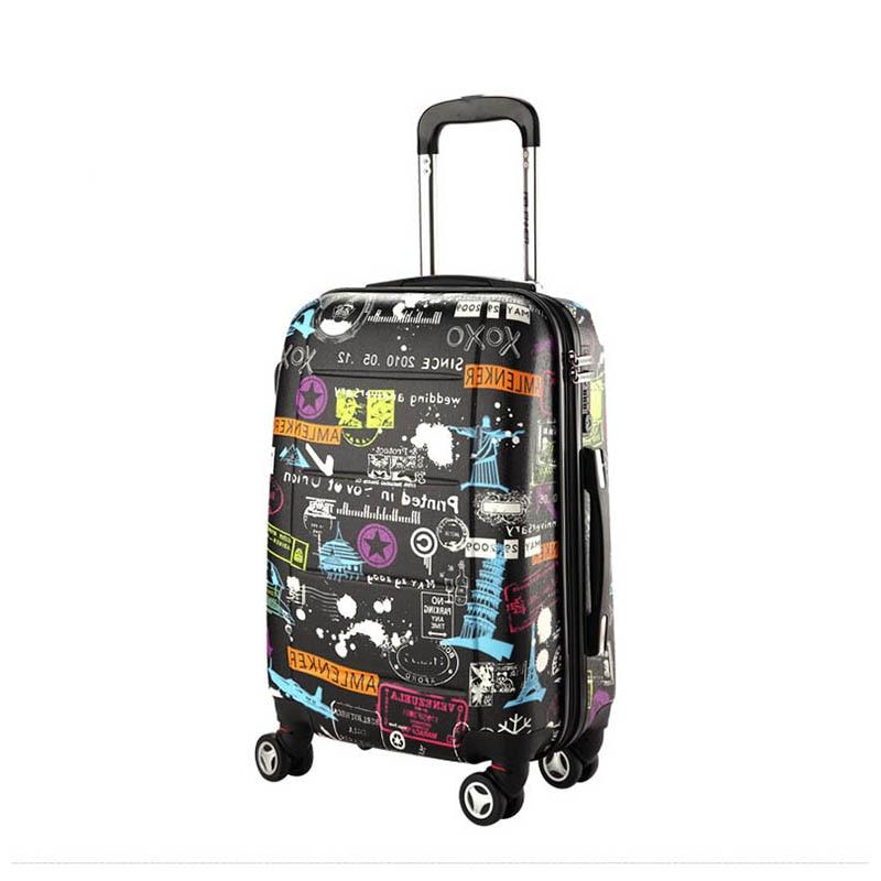 BeaSumore Creative Retro Rolling Luggage Spinner Women Trolley Cabin Suitcase Wheels Graffiti Hardside Travel bag Password