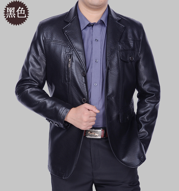 Leather Jacket Men Solid Business Leather Jackets For Men suit  Collar Motorcycle Jacket Spring and Autumn Male wear