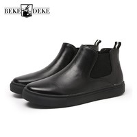 High Quality Mens Pu Leather Ankle Boots New Winter Fleece Lining Slip On Chelsea Boots British