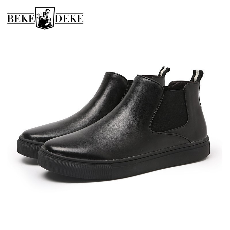 High Quality Mens Pu Leather Ankle Boots New Winter Fleece Lining Slip On Chelsea Boots British Retro Man Footwear Casual Shoes pinsv british style mens chelsea boots elegant slip on men ankle boots pu leather trendy casual shoes men size 39 44