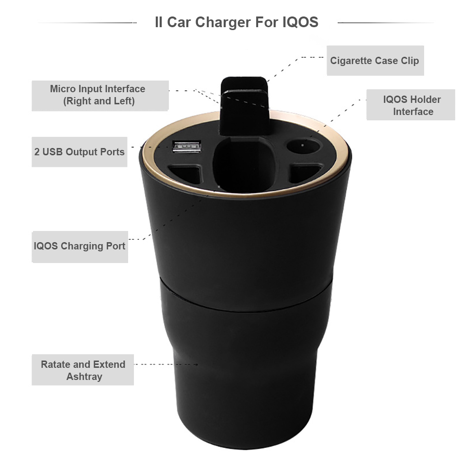 Original Electronic Cigarette Multifunctional II Car Charger for IQOS 2.4 IQOS 2.4 Plus e-cigarette USB charger for iqos charger