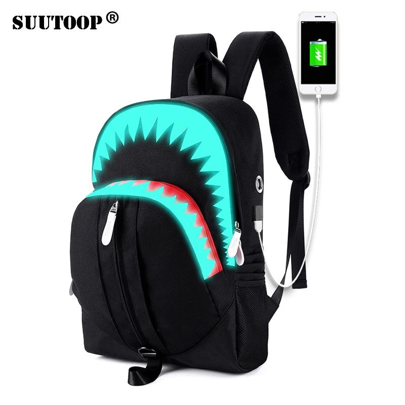 Men Laptop Backpack USB Charge Night Lighting Bags Fashion Shark Backpack Chest Bag Teenagers School Bag Mochila Travel Bag