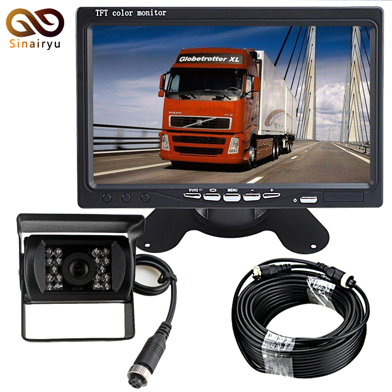 DC 12-24V Bus Van Truck 7 LCD Car Parking Monitor With IR Night Vision Rear View Camera 4 Pin Video Cable 10M 15M 20M Optional 18 ir reverse camera new 7 lcd monitor car rear view kit car camera bus and truck parking sensor camera 15m or 20m cable