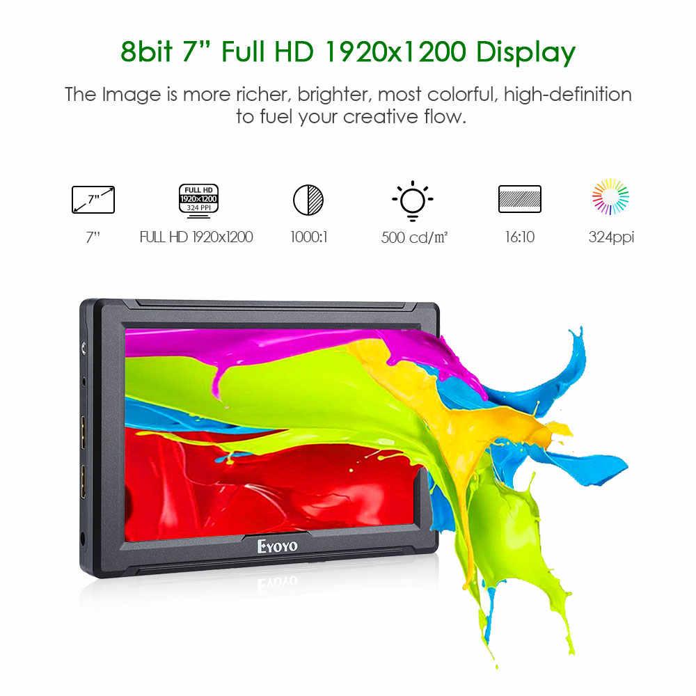 "E7S 7 ""بوصة 1920x1200 IPS شاشة كمبيوتر محمول ذات دقة عالية كاميرا ذروة شاشة عرض فيديو عرض 4K HDMI المدخلات حلقة التدريجي لكانون نيكون DSLR BMPCC 5DIV"