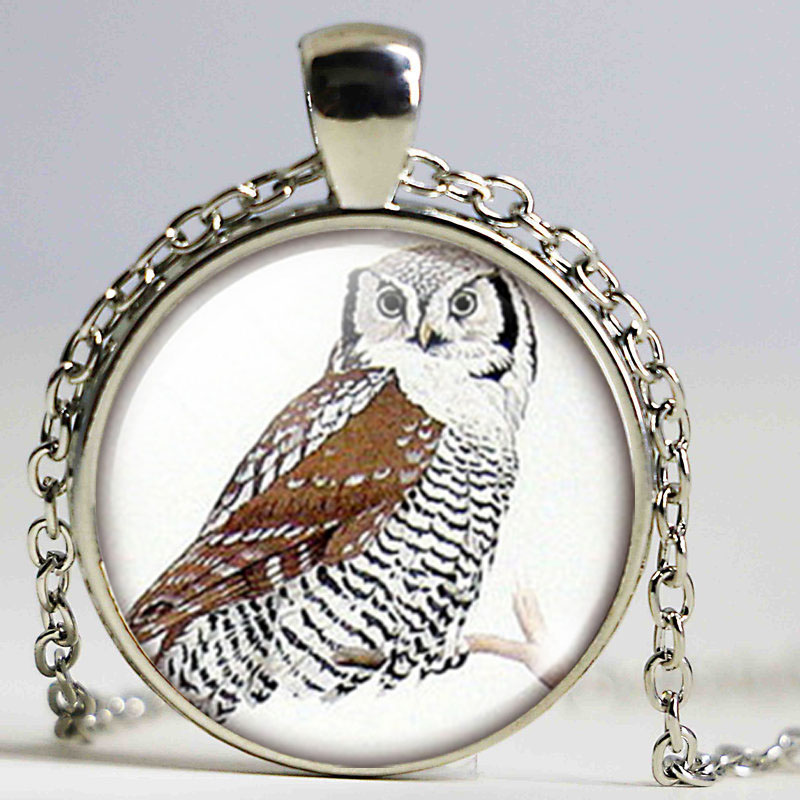 Owl Glass Dome Pendant High Quality Owl Keychains Owl Jewelry Nature necklace Owl Pendant Christmas Gift for Childrens