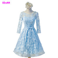 New Hot Sexy Crystal Cocktail Dress 2017 Sky Blue Backless Lace Short Prom Dress Evening Party