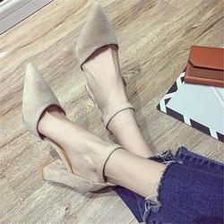 Туфли-лодочки в европейском стиле, тонкие женские туфли, новинка 2019 года, весенняя женская обувь на высоком толстом каблуке для девочек