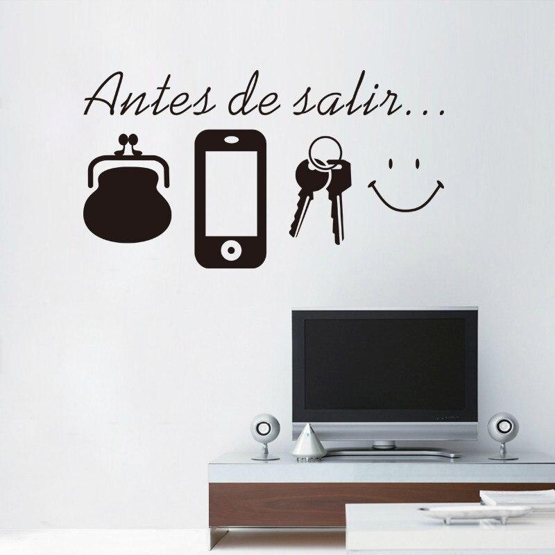 Espanhol Inglês Cotações não Se Esqueça da Porta adesivo de parede Murais decoração da parede Decalques da etiqueta para o lembrete Diário Antes de Sair