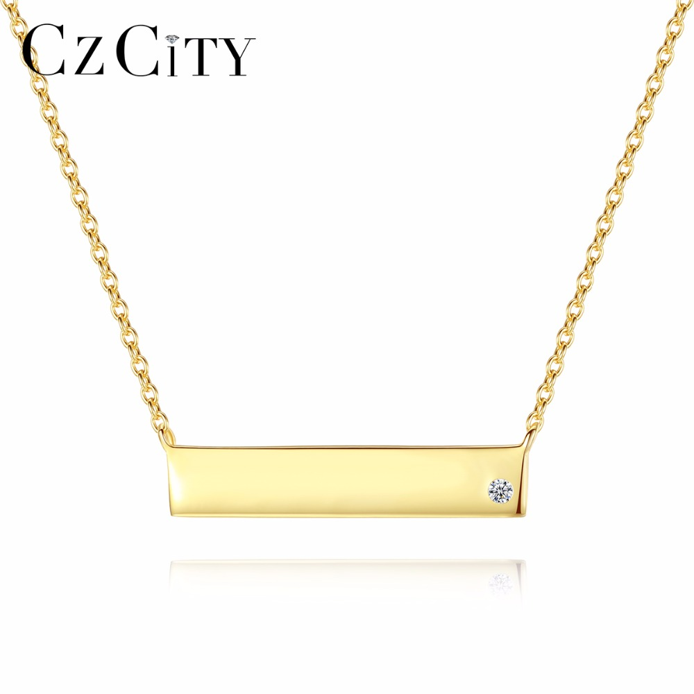 CZCITY Real 925 Sterling Silver Handmade Fine Jewelry rectangle Design Pendant Necklace for Women Accessories Gift