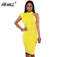 Adewel Для женщин летние желтые карандаш по колено с рюшами Винтаж партии Бизнес элегантное платье Повседневная обувь женское платье vestidos