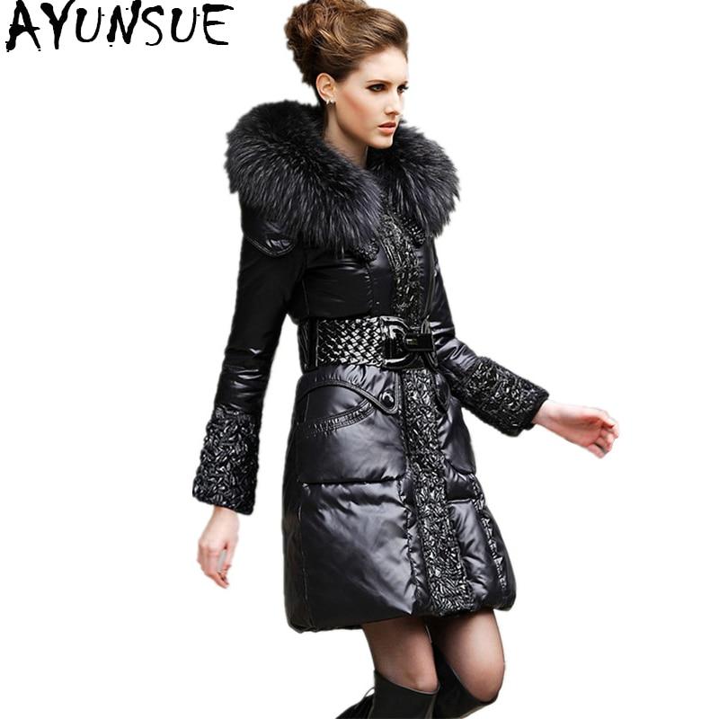 Ayunsue зимняя куртка-пуховик Для женщин теплое пальто женские 100% натуральный меховой воротник длинные куртки Костюмы 2018 casaco feminino 5XL WYQ733