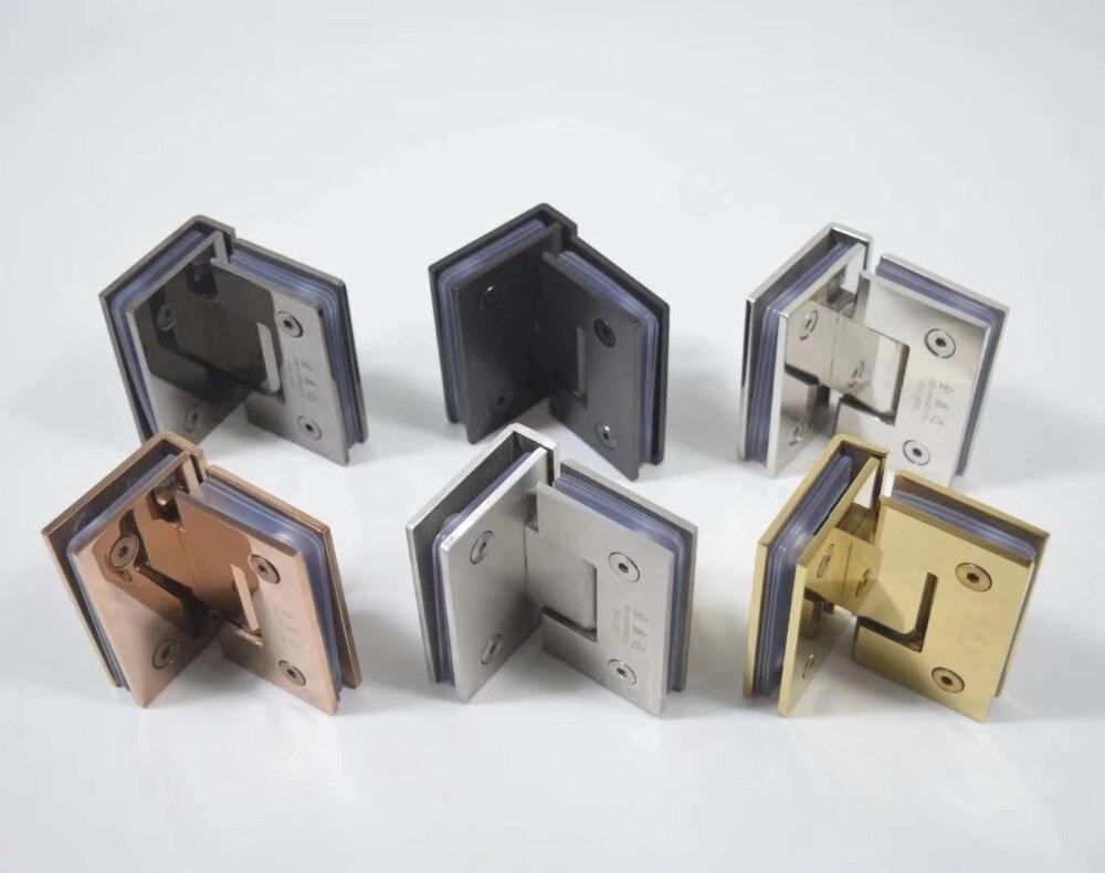 2Pcs Lot Premintehdw 304 Stainless Steel 90 degrees Screen Frameless Glass Hinge Shower Box clip clamp