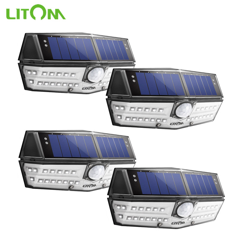 4 Pcs lot LITOM Solar Wall Lights Outdoor 30 LED Motion Sensor IP67 Waterproof Wide Angle