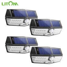 4 ชิ้น/ล็อต LITOM ไฟผนังพลังงานแสงอาทิตย์กลางแจ้ง 30 LED Motion Sensor IP67 กันน้ำมุมกว้าง Super Bright Security Lampe Solaire