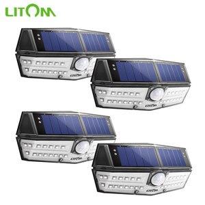 Image 1 - 4 قطعة/الوحدة LITOM الشمسية الجدار أضواء في الهواء الطلق 30 LED محس حركة IP67 مقاوم للماء زاوية واسعة السوبر مشرق الأمن امب Solaire