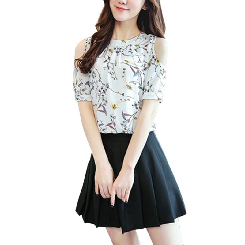 Floral Print Half-sleeve Tops Elegant Open Shoulder Blouses Print Blusas Tops 2017 New Arrival Women Chiffon Shirt Plus Size