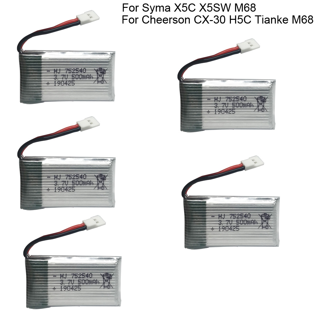 5PCS 3.7V <font><b>500mAh</b></font> Lipo <font><b>Battery</b></font> for Syma X5C X5SW M68 Cheerson CX-30 H5C Tianke M68 Quadrocopter parts toy <font><b>battery</b></font> 752540 <font><b>3.7</b></font> V 1S image