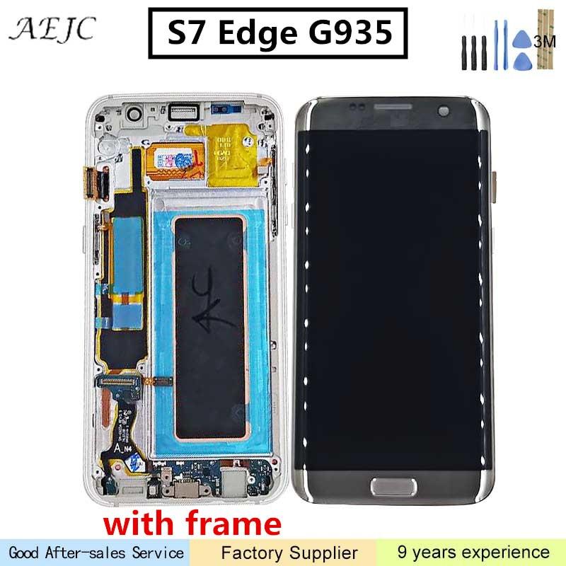 Super AMOLED Affichage Pour Samsung S7 Bord G935 G935F SM-G935F LCD Digitizer Assemblée avec Cadre Pour Samsung S7edge LCD 5.5