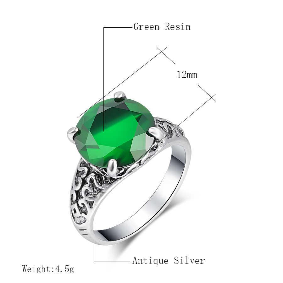 Kinel แฟชั่นงานแต่งงานแหวนคริสตัลตุรกีเครื่องประดับโบราณ Silver Mosaic Zircon Big Green Stone Boho แหวนเจ้าสาว