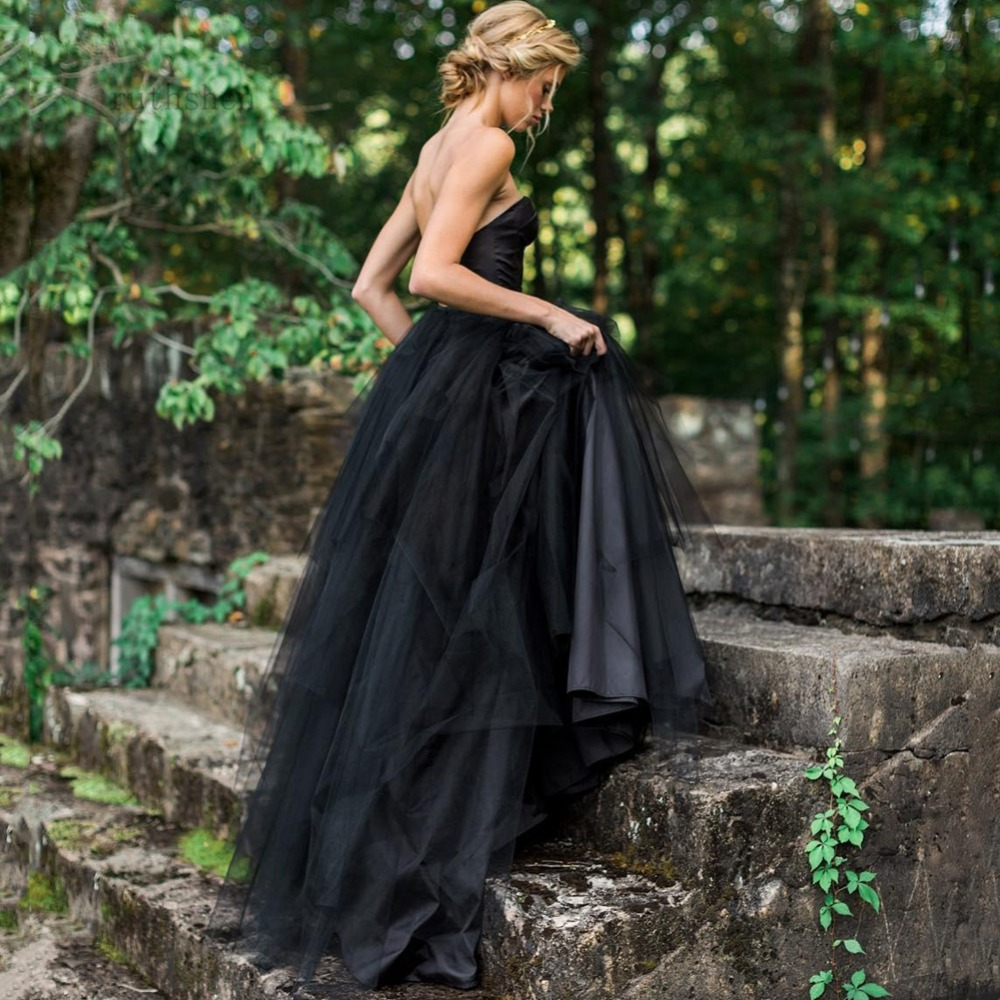 Two Pieces Black Wedding Dresses Sweetheart Vintage Informal Sexy Split Bridal Gowns Colored Custom Made