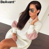 BeAvant Casual loose spliced sweater dress women O neck shift knitted dress autumn 2018 Long sleeve winter dress female pullover