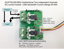 Aoweziic ACS770LCB-050U ACS770LCB ACS770 Unidirectional Two independent channels DC current detection module Rang:0A-50A