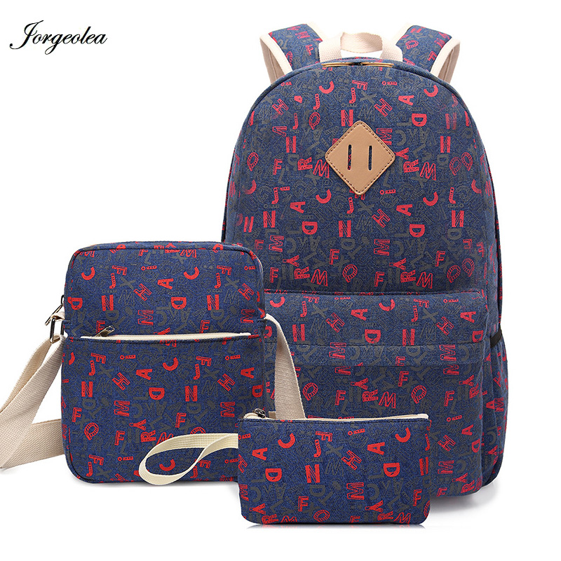 Jorgeolea 3 Pieces Casual Backpack Girls Leisure Letter Shoulder Bags For Teenage Female Canvas School Bag CA171019 menghuo casual backpacks embroidery girls school bag female backpack school shoulder bags teenage girls college student bag