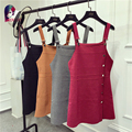 Autumn Summer Casual Solid Spaghetti Strap Knitted Dress Sleeveless Off Shoulder Sweater Dress