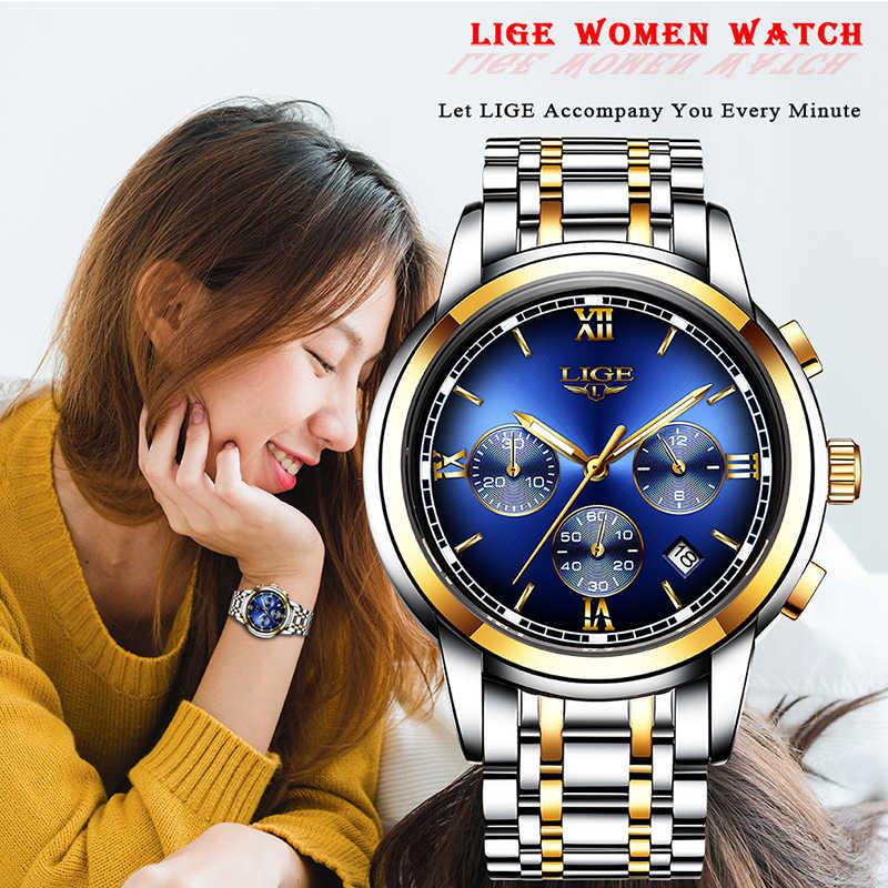 2019 LIGE, новинка, розовое золото, женские часы, Бизнес Кварцевые часы, женские, Топ бренд, роскошные женские наручные часы, женские часы, Relogio Feminin