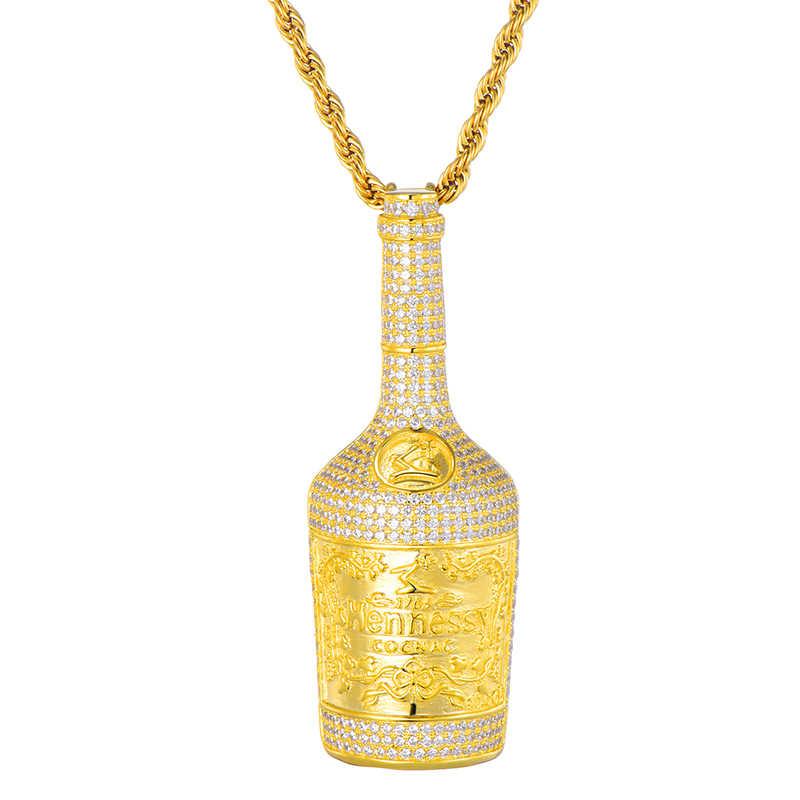 Iced Out Bling butelka do szampana Rhinestone liny łańcuch złoty kolor wisiorki i naszyjniki dla mężczyzn Hip Hop biżuteria Dropshipping