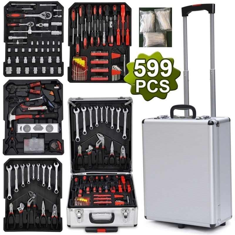 Garage Tools Equipment Storage Trolley Case Toolbox Kit Set Workshop Steel 599pcs Tools For Car And Home Household Hand Tool