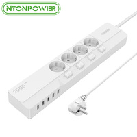 NTONPOWER EU Plug USB Power Socket Surge Protection 4 AC Outlet Individual Switch With 5 USB