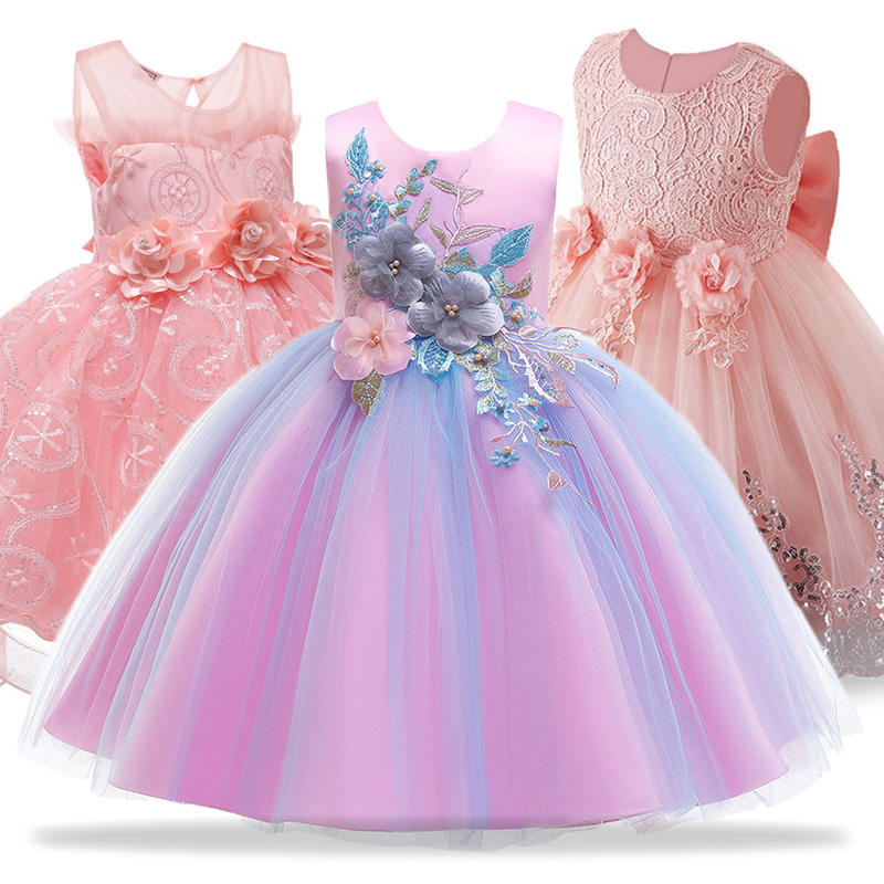 Flower Girls Dress For Wedding and Party Dresses Children Costume Summer Kids Dresses For Girls Princess Dress Vestido infantil
