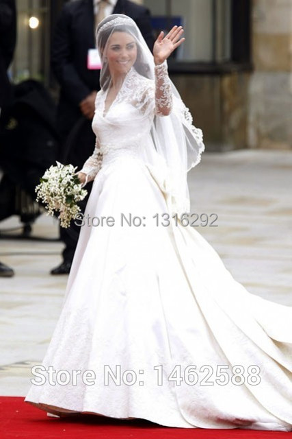 Us 32998 Vestido De Novia Kate Middleton Lace Long Sleeves V Neck Taffeta Royal Princess Wedding Dress 2015 In Wedding Dresses From Weddings
