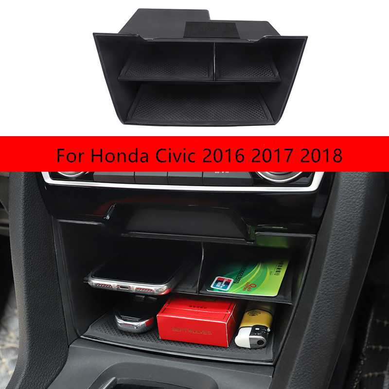 Car Central Control Multifunction Storage Box Multi grid Storage Cover Kit For Honda Civic 2016 2017 2018 Interior accessories