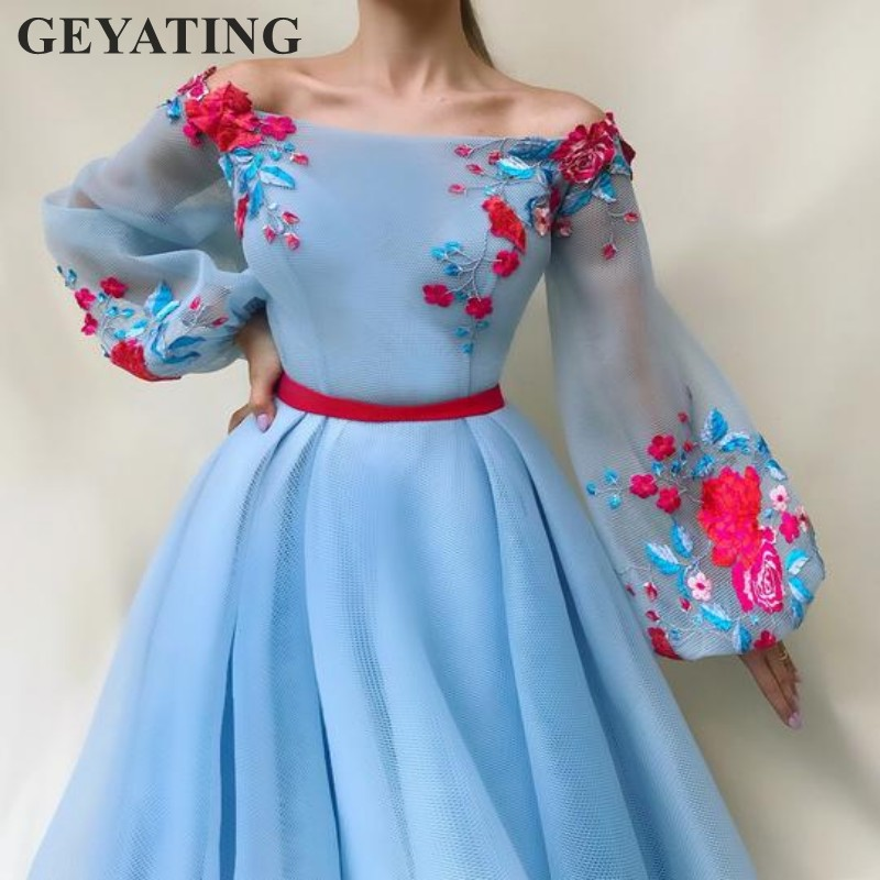 Elegant Long Sky Blue Prom   Dress   with Long Sleeves Boat Neck Tulle Embroidery Appliques A-line Formal Party Gowns   Evening     Dress