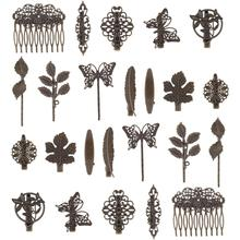 24 Pack Vintage Retro Bronze Metal Hair Clips Barrettes Leaf Feather Duckbill Alligator Hairpins Bobby Pins Comb Claws Clamps