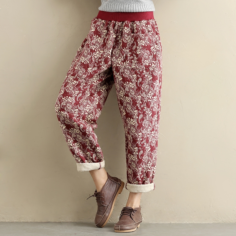 Women Winter Pants Cotton Linen Thick 2018 Floral Warm Cotton Vintage National Elastic Waist  Casual Loose Trousers For Women